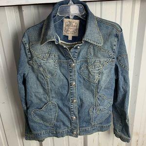 Brighton Blue Jean Denim Heart Jacket  Size XL